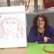 Paula and her marker drawn portrait